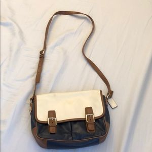 Coach navy and white cross body